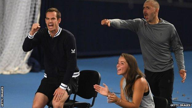 Andy Murray, Dan Evans and Jodie Burrage