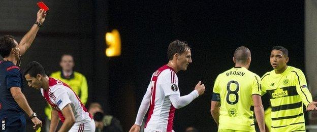 Celtic's Emilio Izaguirre was sent off against Ajax