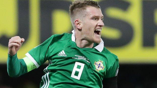 Delight for captain Steven Davis as he doubles the lead with his 12th international goal