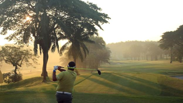 KUALA LUMPUR, MALAYSIA - MARCH 22: Prom Meesawat of Thailand hits his tee-shot on the tenth hole on Day Two of the Maybank Championship at at Saujana Golf ^ Country Club, Palm Course on March 22, 2019 in Kuala Lumpur, Malaysia. (Photo by Andrew Redington/Getty Images)