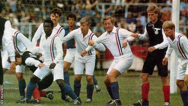Left to right (in Allied soldier kit) - Pele, John Wark, Sylvester Stallone, Co Prins, Michael Caine, Soren Lindsted