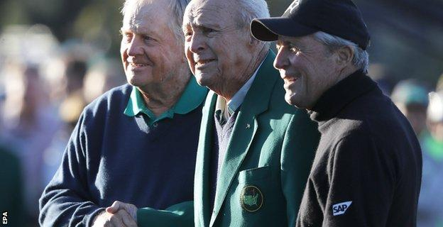Jack Nicklaus of the US, Arnold Palmer of the US and Gary Player of South Africa