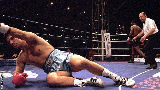 Mike Tyson floored Lou Savarese inside eight seconds at Hampden