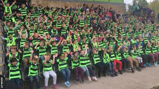 School children in their replica Forest Green Rovers shirts