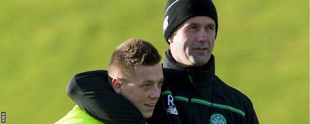 Celtic's Callum McGregor and Ronny Deila during training