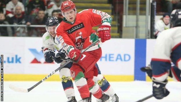 Cardiff Devil Matt Pope battles for the puck