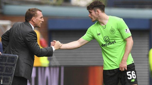 Celtic manager Brendan Rodgers and defender Anthony Ralston