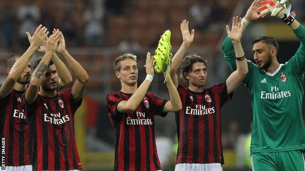 AC Milan celebrate their victory over Shkendija