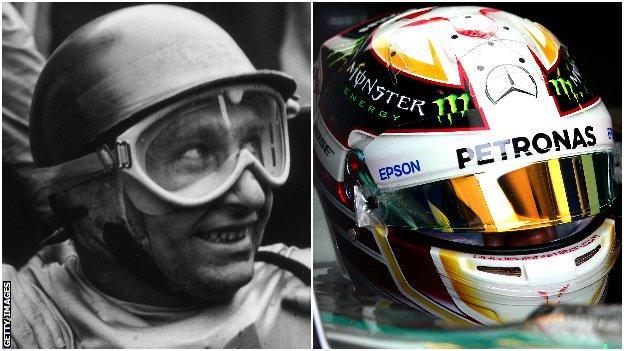 Juan Manuel Fangio and Lewis Hamilton