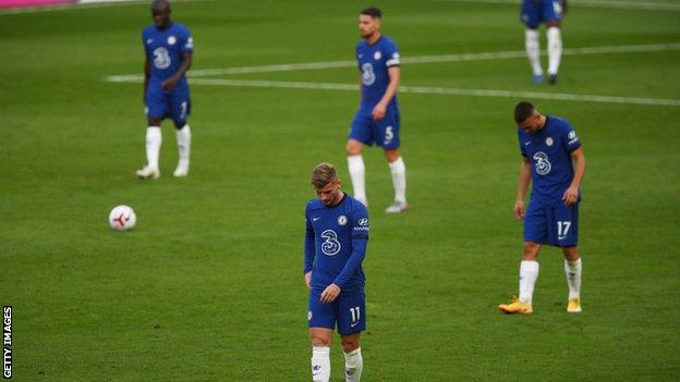 Chelsea players react to conceding a goal