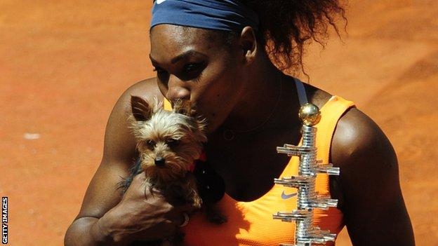 Serena Williams and Chip the dog