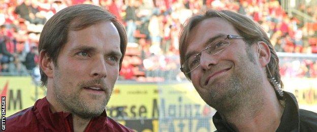 Borussia Dortmund boss Thomas Tuchel (left) with Jurgen Klopp