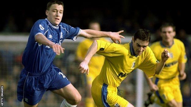 John Terry playing for Chelsea against Gillingham in 1990