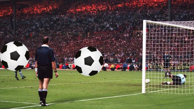 Two England players from Euro 96 covered by footballs