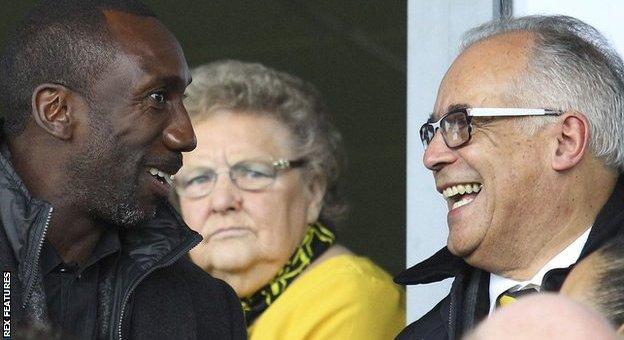 QPR boss Jimmy Floyd Hasselbaink (left) and Burton chairman Ben Robinson