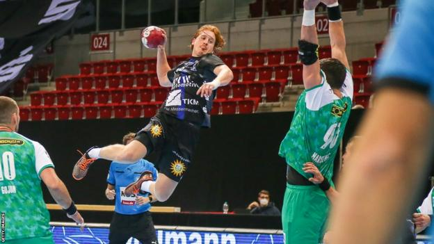 Germany's Lukas Stutzke in action for his club Bergisher HC