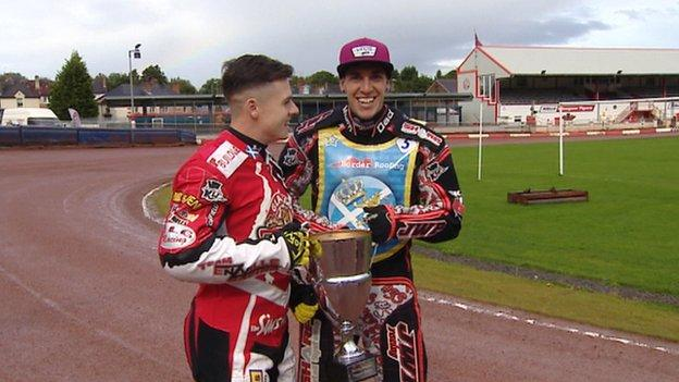 Tigers' Sheffield-born rider James Sarjeant and Monarch's Australian rider Sam Masters