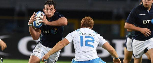 Scotland flanker John Hardie on debut against Italy