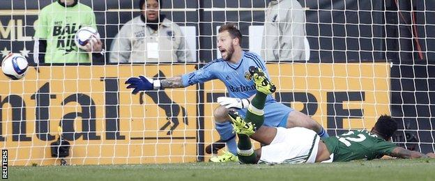 Rodney Wallace scores Portland's second in the MLS Cup final against Columbus Crew