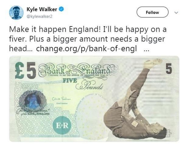 Kyle Walker tweeted a picture of himself on a £5 note and backed Maguire to be on the new £50 note