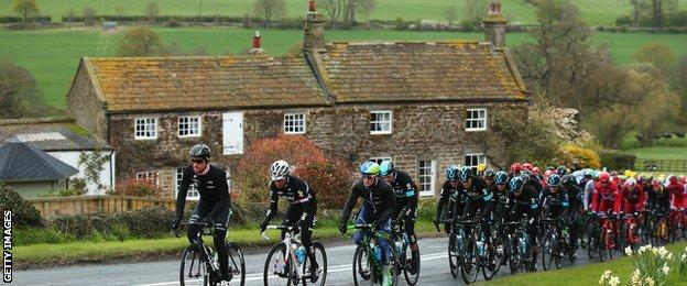 Tadcaster was part of the route for stage one of the Tour de Yorkshire in 2016