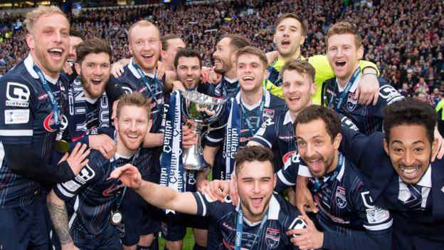Ross County celebrate beating Hibs 2-1 to win their first major trophy