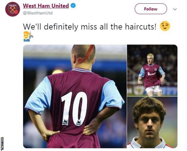 West Ham tweet displaying some of Joe Cole's haircuts