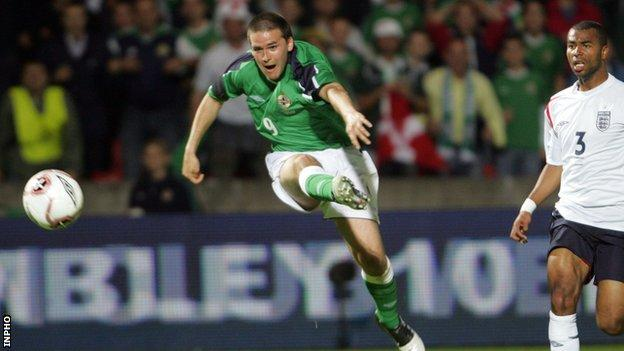 David Healy hits the England net to give Northern Ireland a shock win over England