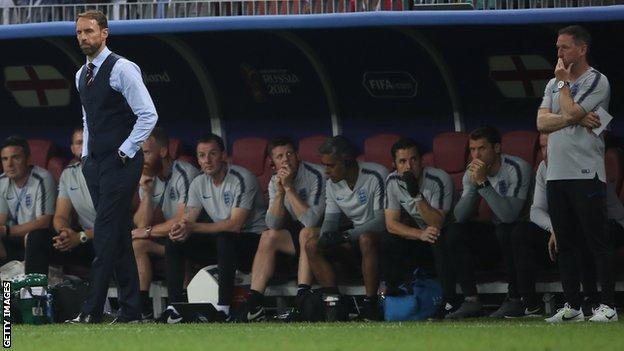 England manager Gareth Southgate with some of his coaching team at the 2018 World Cup