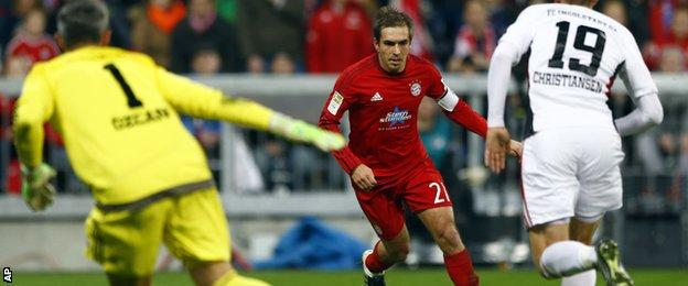 Philipp Lahm scores for Bayern Munich against Ingolstadt