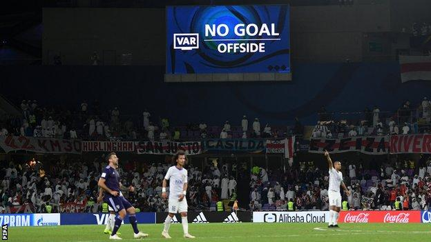 VAR in use at the Club World Cup semi-final between Real Madrid and Kashima Antlers