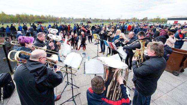 Thatto Heath's brass band plays