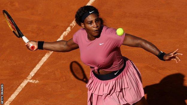 Serena Williams returns in her Italian Open match against Nadia Podoroska