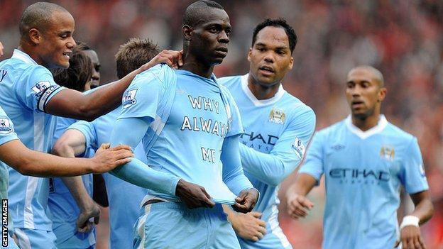 Mario Balotelli's 'why always me' celebration has gone down in Premier League folklore
