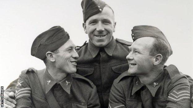 Joe Mercer of Everton, Matt Busby of Liverpool and Don Welsh of Charlton Athletic pictured in 1939