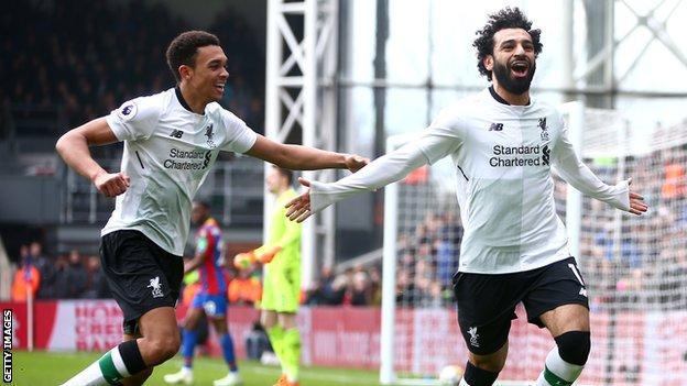 Mohamed Salah and Trent Alexander-Arnold