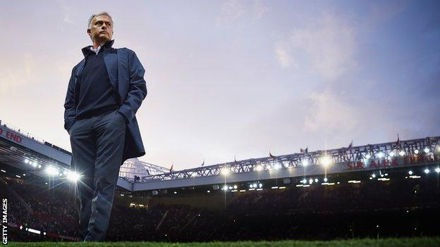 Jose Mourinho on the touchline at Old Trafford during his time as Manchester United manager
