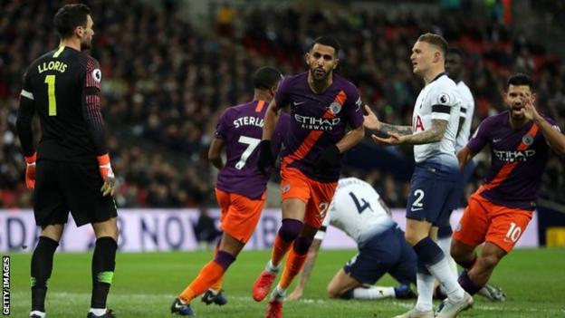Riyad Mahrez celebrates scoring against Tottenham in October