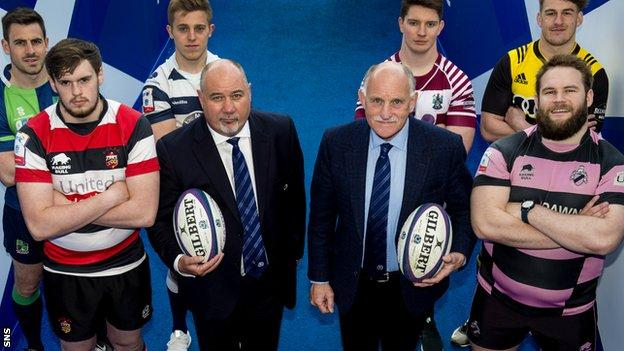 Scottish Rugby chief executive Mark Dodson and president Rob Flockhart are joined by players from the new Super 6 franchises