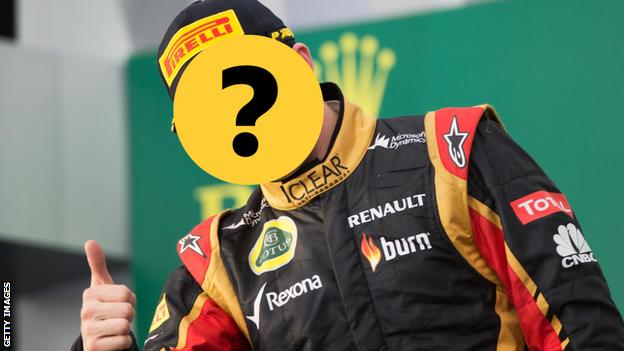 An F1 driver covered by a question mark