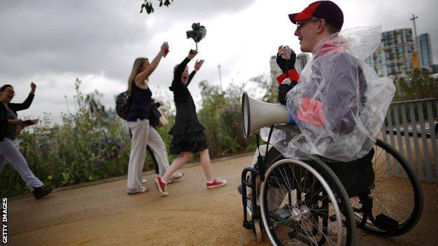 An individual volunteering at the London Paralympics, 2012