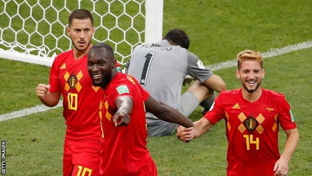 Lukaku celebrates with Hazard and Mertens