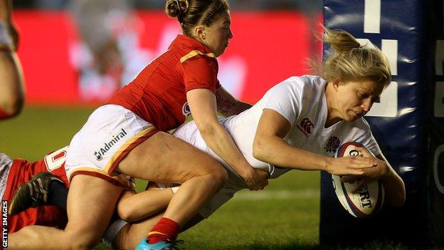 England's Ceri Large crosses the line against Wales