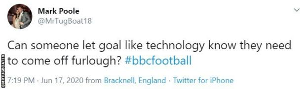 A tweet on Sheffield United's non goal