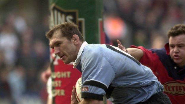 Owain Williams scores for Cardiff against Llanelli in May, 2000