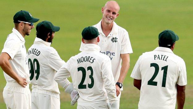 Zak Chappell took three of the six Lancashire wickets to fall at Trent Bridge