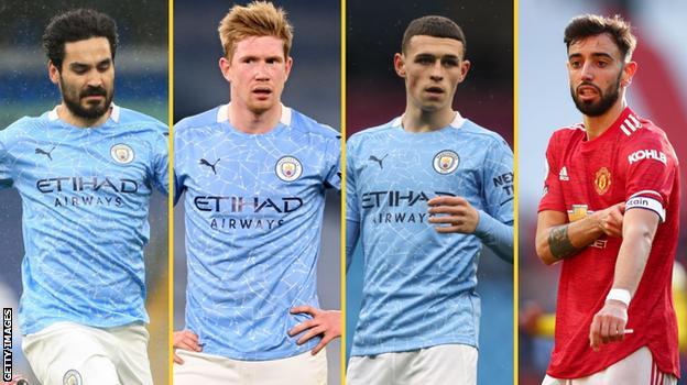 Ilkay Gundogan (Man City), Kevin de Bruyne (Man City), Phil Foden (Man City), Bruno Fernandes (Man Utd)