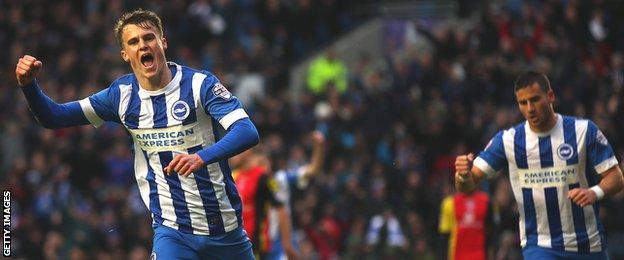 Brighton's Solly March celebrates his first-half goal against Birmingham