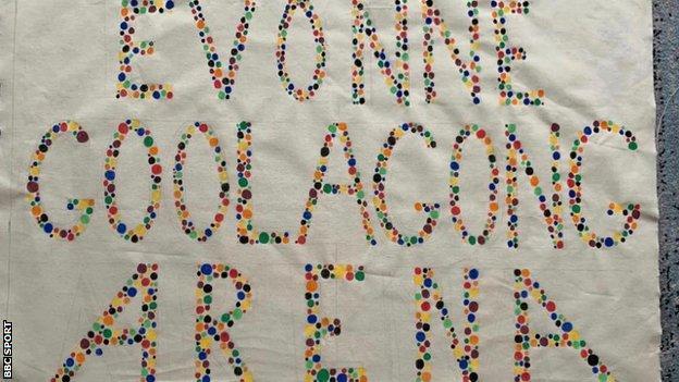 Martina Navratilova's Evonne Goolagong Arena banner