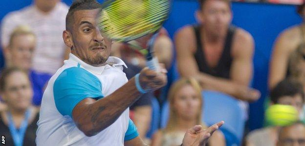 Nick Kyrgios playing Andy Murray in the Hopman Cup